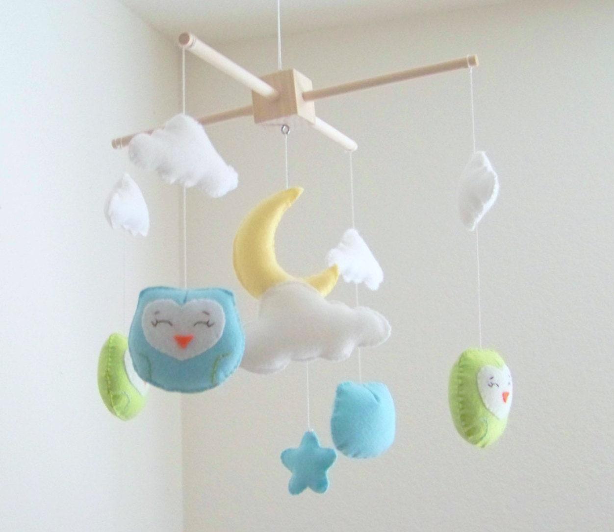 Eule Babymobile mobile Wolke Mond-Baby-Mobile blau und grün