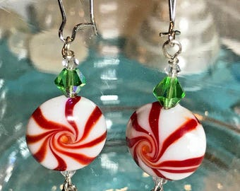 New Handmade Christmas Peppermint Swirl Candy Lampwork Bead Sterling Silver Plated Earrings