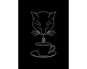 Coffee Lover Cat, art print 5x7 Animal Art Digital Art Cat, illustration, home decor, wall art, postcard