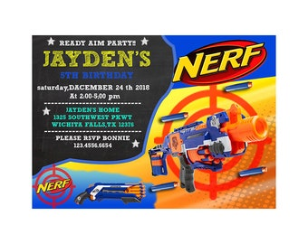 Dart Gun birthday, Dart Gun invitations, Dart Gun birthday invitations, Dart Gun birthday party, Dart Gun Party Invitations