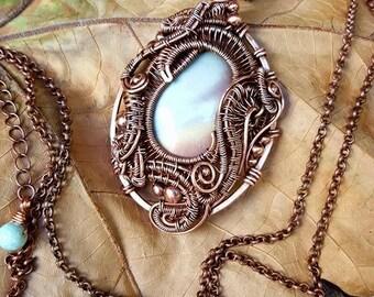 Fantasy: polychrome/desert polished jasper cabochon in antiqued copper wire pendant necklace