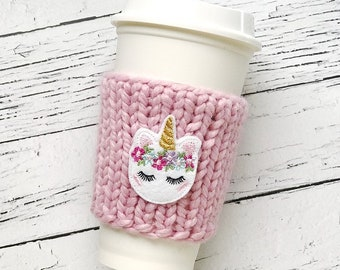 Unicorn Coffee Cozy, Chunky Coffee Cozy, Knit Coffee Cozy, Birthday Gifts for Friend, Unicorn Cozy, Unicorn Gift, Chunky Knit Cup Cozy