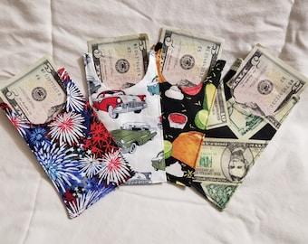 Cash Envelopes, Set of 4, Cash Envelope System, Cash Envelope Wallet, Fabric Cash Envelope, Fabric Cash Wallet, Budget Envelopes