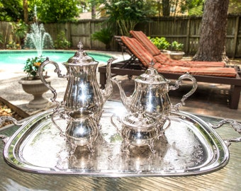 Vintage Silver Plate Tea Set With Tray Coffee Service Set Baronial by Gorham