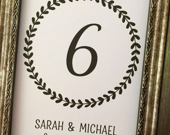 Rustic Wreath Wedding Printed Table Numbers, Laurel 5x7 Table Numbers,Wreath 5x7 Table Numbers,Printed Table Numbers