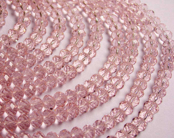 Pink Crystal faceted rondelle -  72 pcs -  8 mm - AA quality - full strand