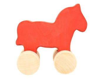 Wooden toy horse - Personalized Toys - Organic and Eco Friendly - Baby gift - Waldorf - Montessori - Wooden Toys - Baby Birthday Gift Toys
