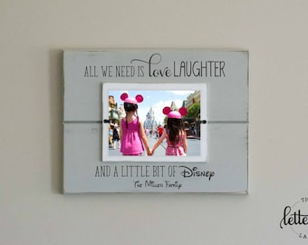 Disney Picture Frame, Personalized Family Frame, Christmas Gift, Family Vacation, Love Laugh Disney, Disney Family Gift, disney trip