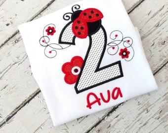 Ladybug birthday outfit - ladybug birthday - second birthday outfit- 2nd birthday shirt - ladybug party - personalized birthday top
