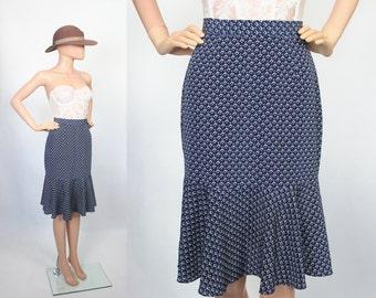Vintage High Waist Skirt Midi Cocktail Secretary Wiggle Hourglass Ruffle Mermaid Hem Geo 1980s Graphic Print Navy Blue Extra Small Small