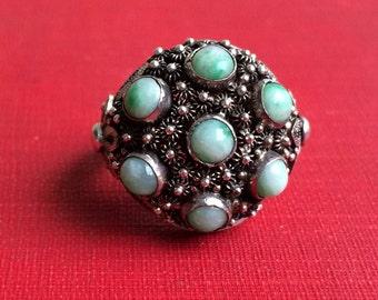 Jade Cluster Ring, Filigree Silver Adjustable