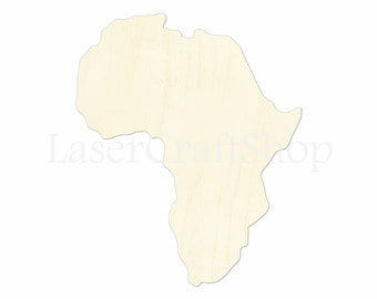 """2"""" - 34"""" Africa Continent Wooden Cutout Shape, Silhouette, Gift Tags Ornaments Laser Cut Birch Wood  #1185"""