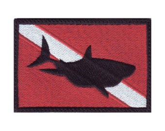 Scuba Shark Flag Embroidered Sew on Patch