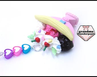Pastel Banana Split Necklace, Ice Cream Jewelry, Banana Split, Food Necklace, Miniature Food Jewelry, Ice Cream Necklace, Parfait
