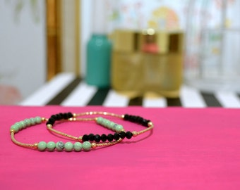 """The """"Anabelle"""" Turquoise or Black Beaded Gold Stackable Stretch Bracelet"""
