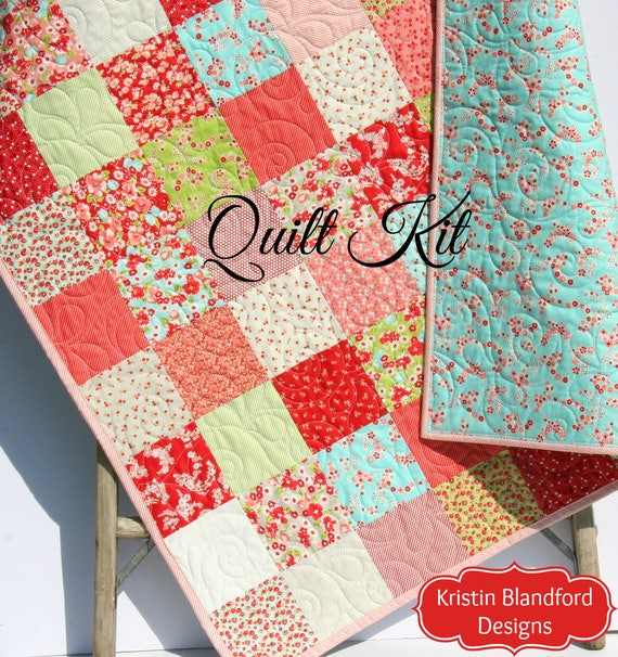 Baby girl quilt kit little ruby bonnie and camille for moda fabrics baby girl quilt kit little ruby bonnie and camille for moda fabrics blue pink cottage beginner patchwork diy do it yourself shabby chic from solutioingenieria Images
