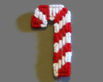 Plastic Canvas Magnet Candy Cane, needlecraft, Christmas gift,  Refrigerator Magnets, magnetGift, Stocking stuffer, holiday gift, December