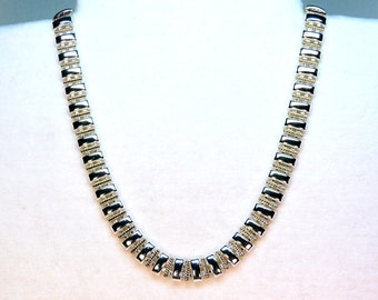 """vintage duo tone link necklace silver tone and gold tone flexible 19""""    G"""
