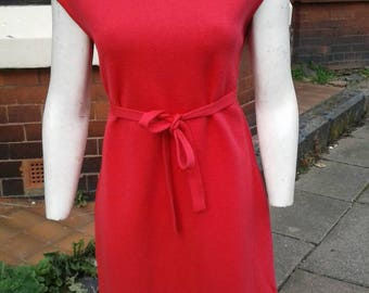 SALE Sassy wonderful 100% wool orangey pink 1950s knitted wiggle dress with matching belt and neck detail