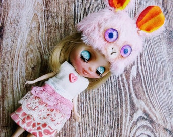 Petitie Blythe Doll Beanie Hat Bunny Helmut