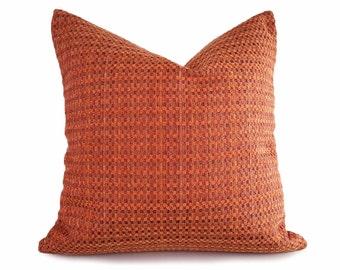 Textured Orange Pillow, Orange Pillow Cover, Rust Pillow, Red Orange Pillow, Orange Throw Pillow, Orange Cushion, Zipper, 18x18, 20x20