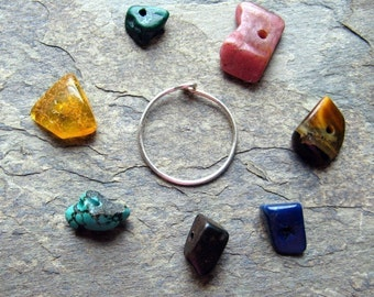 catch the rainbow-- gemstone hoop single earring-- primitive series-- handmade by thebeadedlily