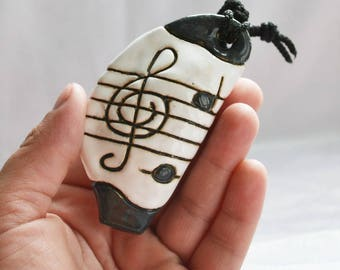 Ocarina Pendant Music Necklace ocarina instrument clay Whistle Music Jewelry  Pottery Pendant folk music toy Treble clef