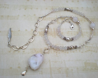 In a faerie realm beaded necklace, pink opal, rose quartz, sterling silver, feather, pink necklace, unique jewelry by Grey Girl Designs