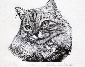 Black and White Cat Art - Engraving - Cat Art - Original Print