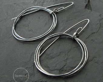 sterling silver earrings - oxidized hoops earrings