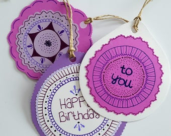 Birthday Gift Tags - Purple