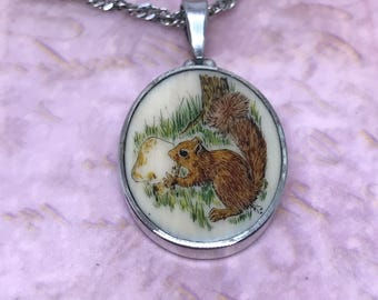 Vintage Enameled Squirrel Necklace in Sterling