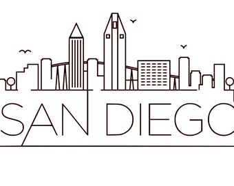 SVG, GSP Files, Unique Linear Skyline of San Diego, California