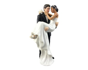 Caucasian Groom Holding African American Bride Interracial Cake Topper Figurine - Custom Painted Hair Color Available - 707573
