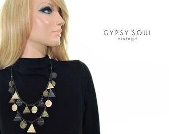egyptian geometry statement necklace artisan necklace patina metal necklace acid oxidized metal necklace chain necklace tiered necklace