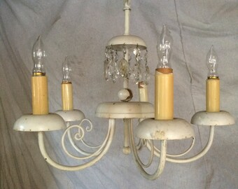 Vintage Shabby Chic Style Chandelier With Crystal Accents   LA PICK UP Only