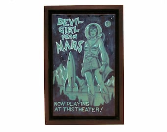 Framed Ceramic Art Tile Plaque, DEVIL GIRL From MARS, Hand Painted & Glazed Turquoise, 1950s Sci Fi Movie, 11 x 7  Wall Art