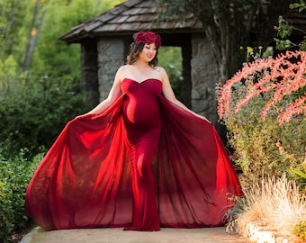 Maternity Dress-Maternity Gown for Photo Shoot-Long Maternity Dress-Wine Maternity Gown-Maxi Gown-Maternity Dress for Baby Shower-FRANCESCA