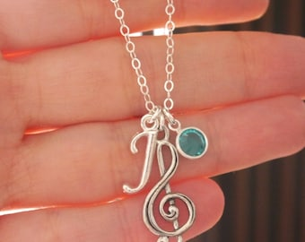 Personalized Treble Clef Necklace, Music Jewelry Gifts, Music Note Necklace, Silver, Letter Birthstone, Treble Clef, Music Necklace, Custom