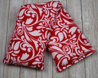 Cherry Pit Heating Pad - Red Damask Scroll -  Microwaveable
