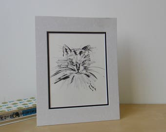 Vintage Pen and Ink Cat Illustration