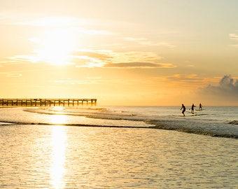 Paddleboarding Trio - beach art - ocean sea art photography surf seaside