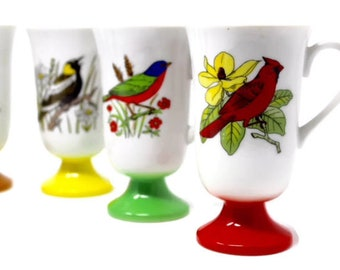 Six Vintage Porcelain Pedestal Coffee/Tea Cups - Fred Roberts Birds - Mid-Century Multi-Colored Coffee Cups - MCM Kitchen Dining - Bird Gift