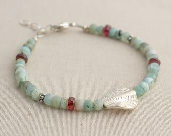 Sterling Opal & Garnet Bracelet
