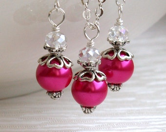 Hot Pink Jewelry Set, Set Of Necklace And Earrings, Bridesmaids Gift, Jewelry Set, Flower Girl Jewelry, Hot Pink Pearl Jewelry Pink Wedding