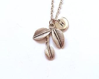 Silver Leaf Necklace, Charm Necklace, Leaf Charm, Personalized Initial Necklace, Leaf Initial Charm, Monogram Necklace (A27)