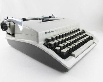 A 'Remington Mark II' - Portable in Hardbody Case - With Manual - Typewriter Made in Holland - 1960s - Grey on Grey Manual Typewriter