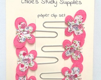 Set of 6 large pink butterfly paper clips bookmark