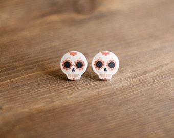 Skull Earrings, calavera, celebration of death, day of the dead, halloween, sugar skull