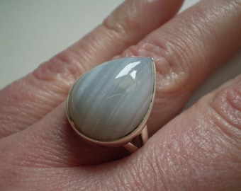 Blue Lace Agate 925 Sterling Silver Ring Size 8.25